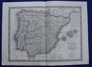 Original Antique Map Spain Portugal Espagne Et Portugal C V Monin 1837 Ebay