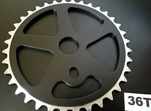 36T-ALUMINUM-BMX-SPROCKET-FOR-SINGLE-1PC-CRANK-1-2-034-x1-8-034-x36T-CNC-MACHINED-BLACK