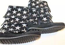New Minnetonka Black Winter Boots Kid Girl Fringe Star 100% Leather 10 Zipper