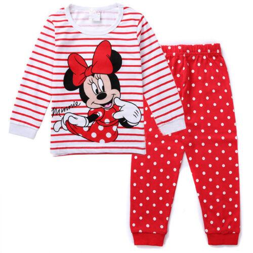 2PCS Kids Girl Boy Minnie Mouse Pyjamas Sleepwear Homewear Nightwear Outfits PJs