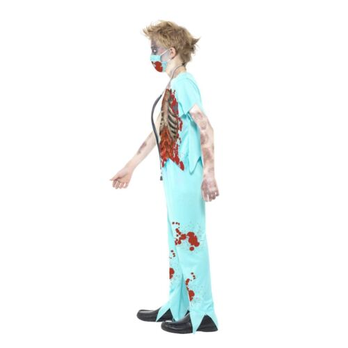 BOYS ZOMBIE OSPEDALE CHIRURGO Costume MEDIC Kids Halloween Walking Creepy morto