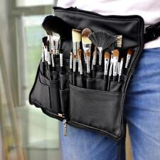 Pro PU 28 Pocket Leather Makeup Bag Cosmetic Brushes Case Belt Strap Holder Tool