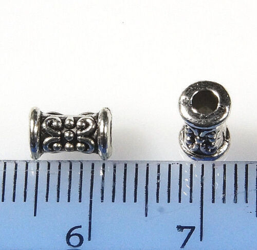 30 x ANTIQUE SILVER~TUBE~TIBETAN STYLE~SPACER BEADS~7.5 x 5 MM HOLE~2 MM Approx