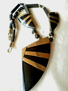 STRIKING-BLACK-HORN-amp-BRASS-NECKLACE-WITH-WOODEN-amp-BRASS-BEADS-4-95-NWT