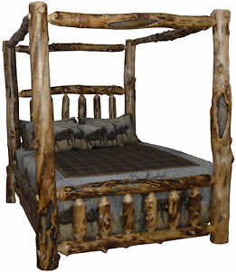Rustic aspen log canopy style bed king size amish made for Log style beds