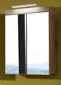 Details zu Spiegelschrank Ast Eiche Bad Spiegel Schrank Badezimmer Amanda  Beleuchtung 60 cm