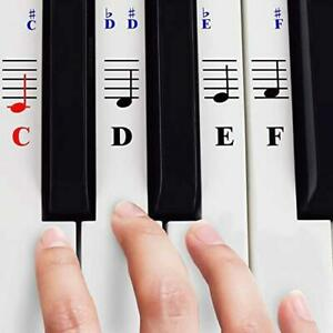 QMG Piano Stickers for 49/61/ 76/88 Key Keyboards – Transparent and Removable;