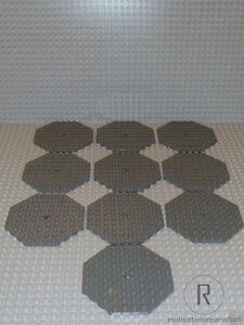 LEGO-10-Platten-Achteck-10x10-neues-dunkelgrau-grau-Neu-89523-Castle-City-R858