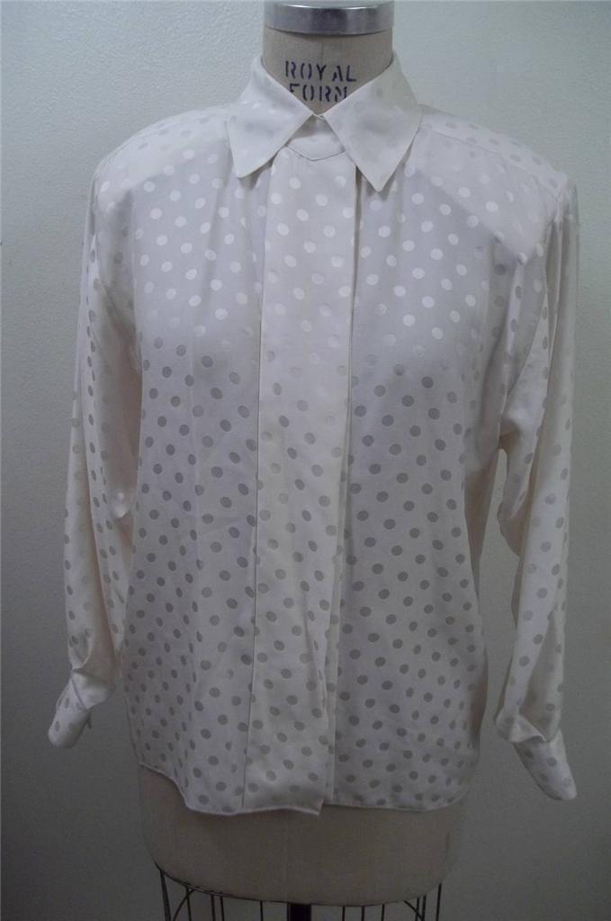 ST. JOHN Cream Polka Dot 100% SILK Long Sleeve Blouse  8
