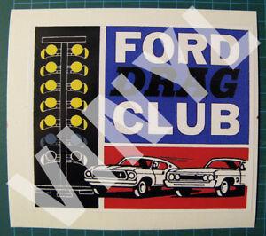 Ford-Drag-Club-Drag-Racing-Vinyl-Decal-Sticker-Vintage-Style-4-3-4-X-4-034-NHRA