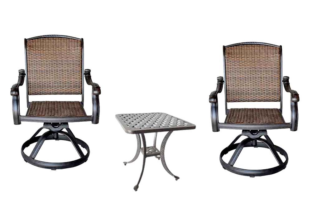 3pc bistro patio set 2 Santa Clara swivel rockers outdoor Nassau end table