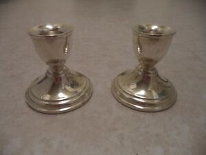 Vintage-Preisner-STERLING-SILVER-Pair-of-Candlesticks-Candle-Holders-Weighted-26