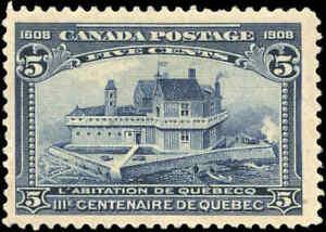 1908-Mint-NG-Canada-F-Scott-99-5c-Quebec-Tercentenary-Issue-Stamp
