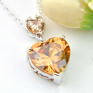 European-Heart-Style-Champagne-Morganite-Gemstone-Silver-Charm-Necklace-Pendants