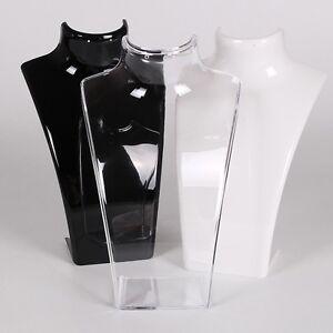 Acrylique-Collier-Chaine-Pendentif-Boucles-Display-Stand-Buste-Porte-Bijoux