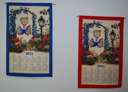 "Stoffkalender mittel Blumen /""Teddy/"" 2021 Stoffwandkalender Textilkalender Bären"