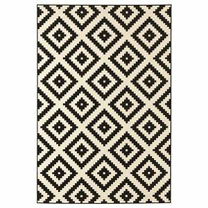 LAPPLJUNG-RUTA-Rug-Black-and-White-Low-Pile-Soft-Plain-100-Pp-Floor-Rugs-Carpets