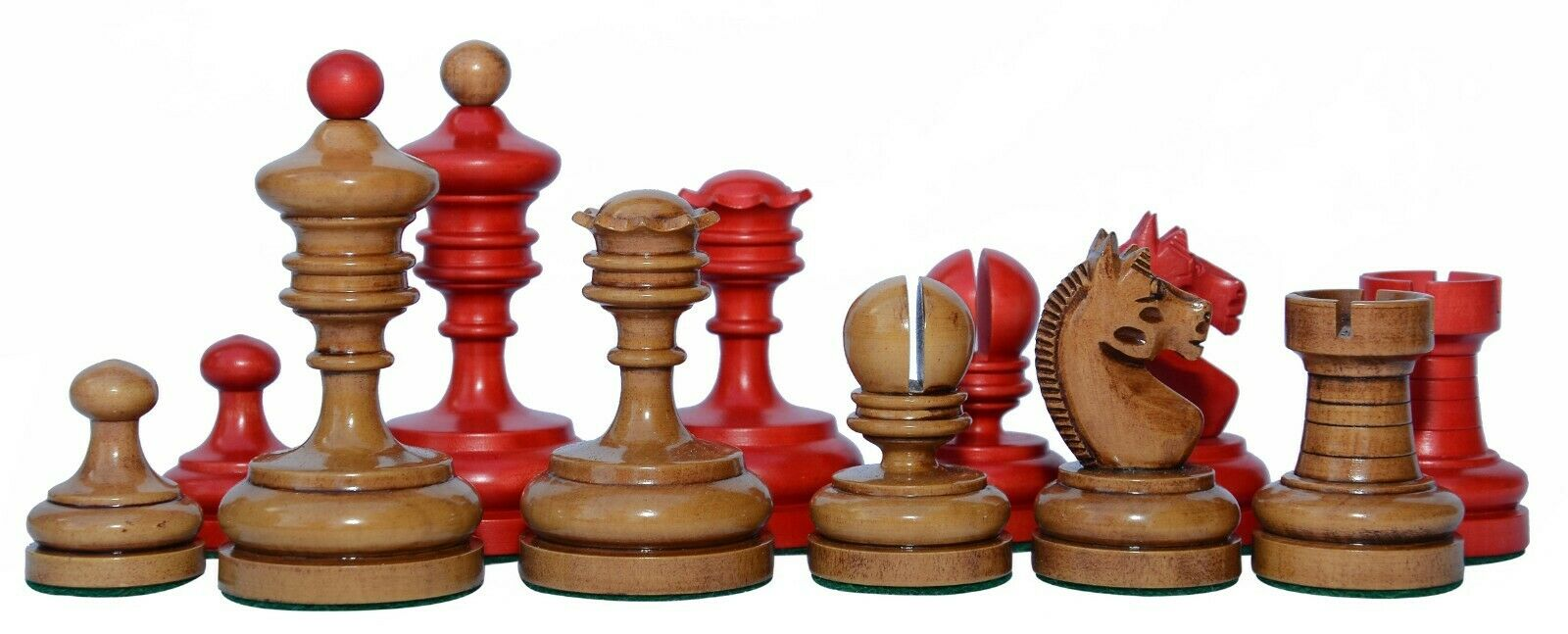 Reproduction Vintage 1930 German Knubbel 3.5  Chess Pieces in Distressed Antique