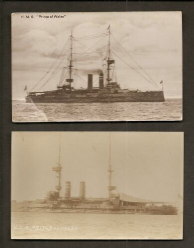 2 REALPHOTO POSTCARDS HMS PRINCE OF WALES BRITISH ROYAL NAVY WW1 BATTLESHIP