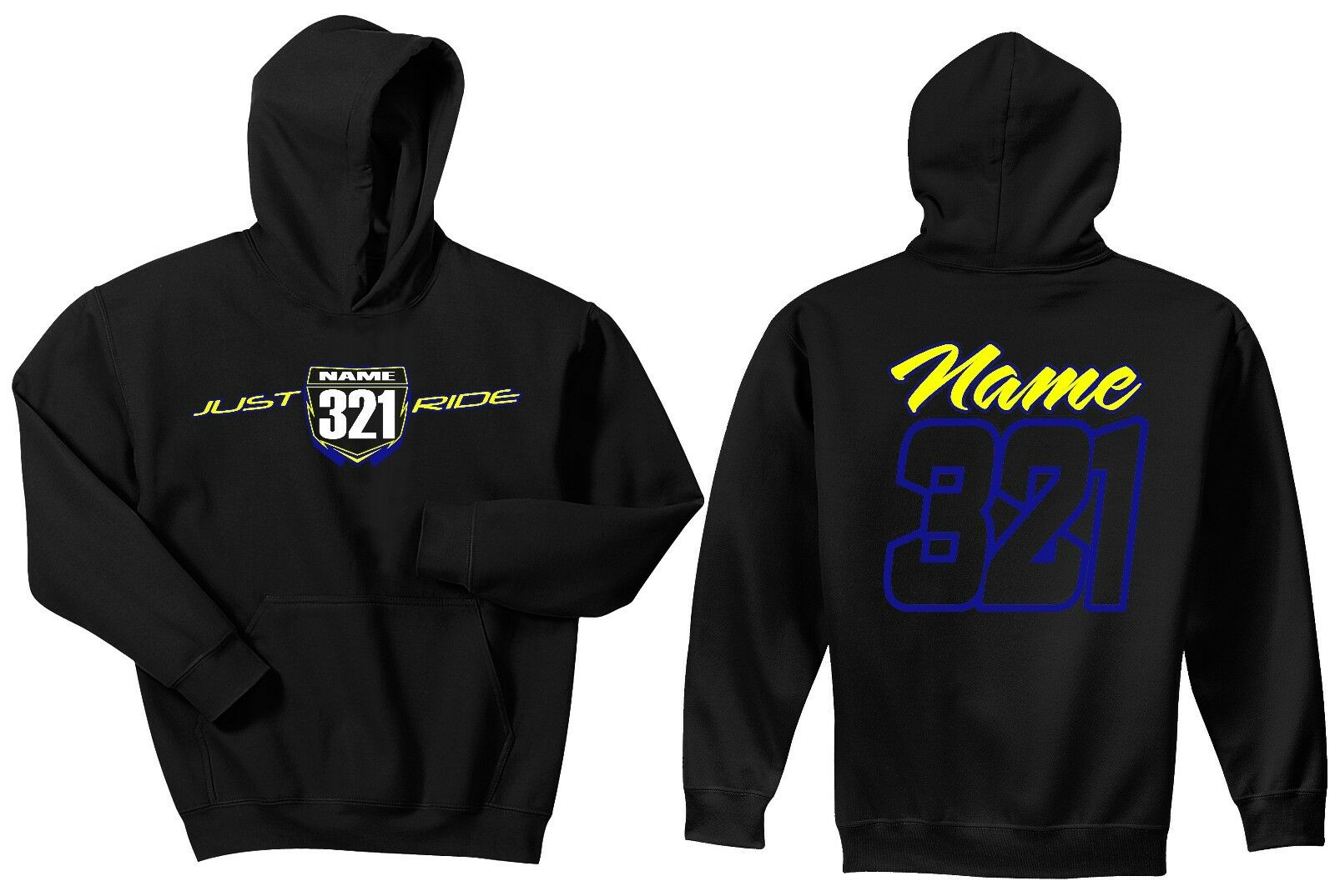 JUST RIDE CUSTOM NUMBER PLATE HOODIE SWEAT SHIRT MX MOTOCROSS YZ YZF YAMAHA WR