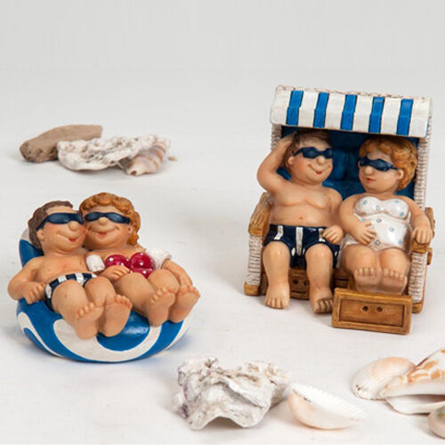 Formano Deko Strand Figur Paar Luftmatratze oder Strandkorb blau rot weiss NEU