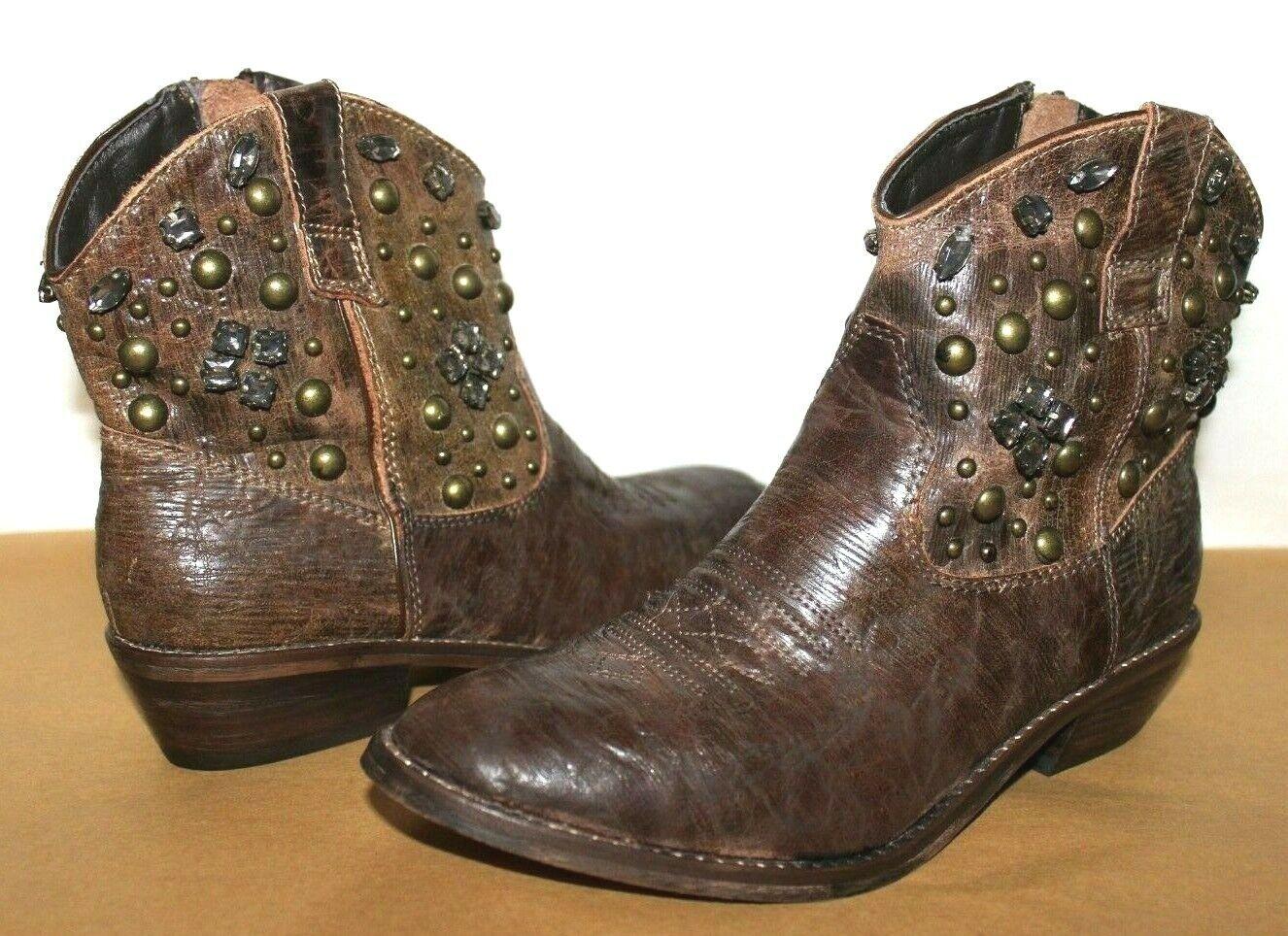 ❤️STEVE MADDEN Bronco Western Studded Premium Leather Zip Boot 7 M NEW! L@@K!u