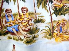 XL Hawaiian Shirt Hula Dancers Men Playing Gourd Drums Ukelele Outrigger Canoes