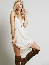 NWOT Intimately Free People Eyelash Lace Mini Slip Dress Shell Pastel Pink XS