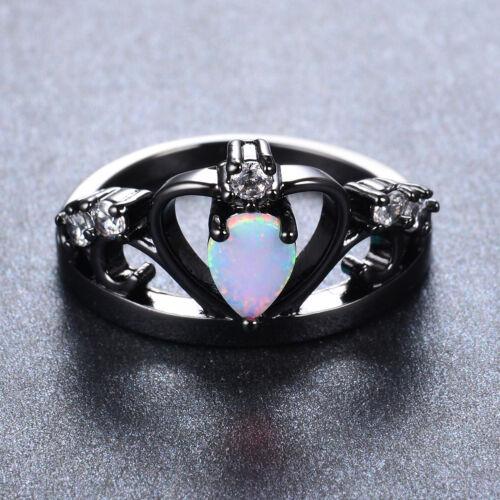 New Hot Mystic Topaz Princess Crown Ring Black Gold Women Wedding Band Size 5-12