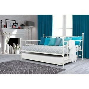 full size daybed with twin trundle bed white metal day bed guest room bedroom ebay. Black Bedroom Furniture Sets. Home Design Ideas
