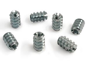 M3 x 12mm Slotted Steel Screw In Type A Threaded Wood Inserts Chipboard Zinc