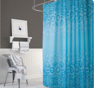 Rideau de douche en tissu bleu blanc mosaïque 180x200 cm 180 large x ...
