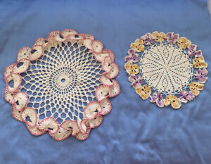 2 Vintage Hand Crochet Round Doily Pink and Pansy