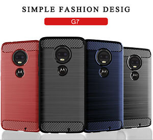 Pour-Motorola-Moto-G7-G6-G5-G5S-Plus-Doux-Carbone-Fibre-TPU-Housse-Etui-Antichoc