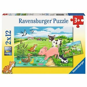 Ravensburger-07582-Tierkinder-auf-dem-Land-2-x-12-Teile-Puzzle-NEU-OVP