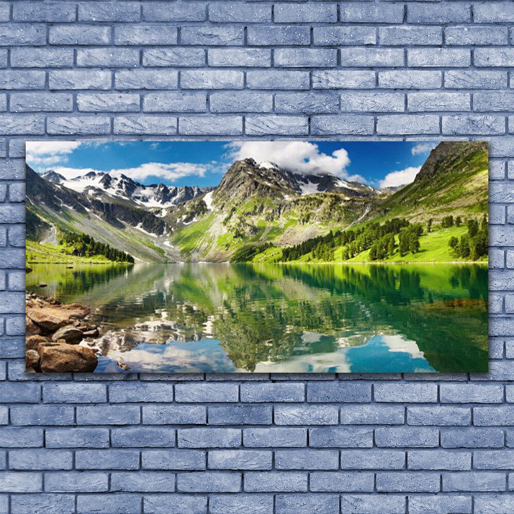 Glasbilder Wandbild Druck auf Glas 140x70 Berg See Landschaft