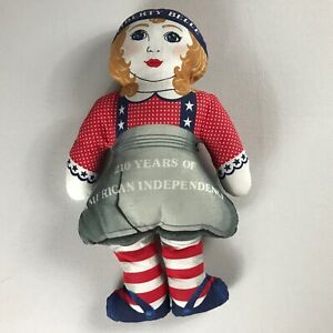 Liberty-Belle-Plush-VTG-1986-Stuffed-15-034-Girl-Doll-210-Years-Of-Independence-USA