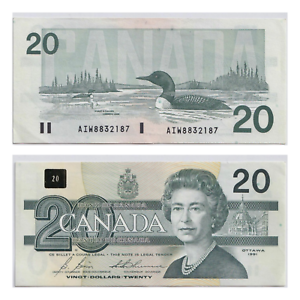 1991-20-Bank-of-Canada-Bonin-Thiessen-Prefix-AIW-with-Serifs-AU