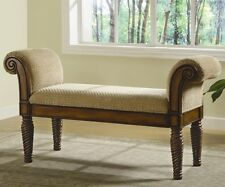 Coaster 100224 - Stately Upholstered Bench with Rolled Arms - Brown