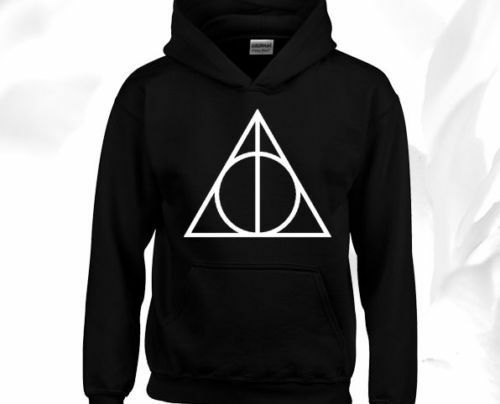 Deathly Hallows Triangle Hoodie Unisex Harry Potter Hogwarts Wizard Pullover