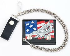 USA FLAG FLYING EAGLE TRI FOLD BIKER WALLET With CHAIN mens LEATHER #587 NEW
