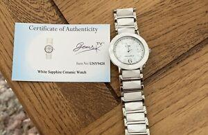 GEMS TV donna bianco zaffiro ceramica orologio con carta di autenticità
