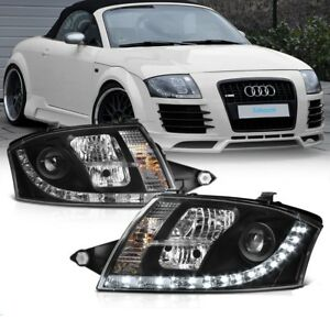 BLACK-HEADLIGHTS-WITH-DRL-FOR-AUDI-TT-8N-1998-2007-MODEL-NICE-GIFT-DAY-RUNNING
