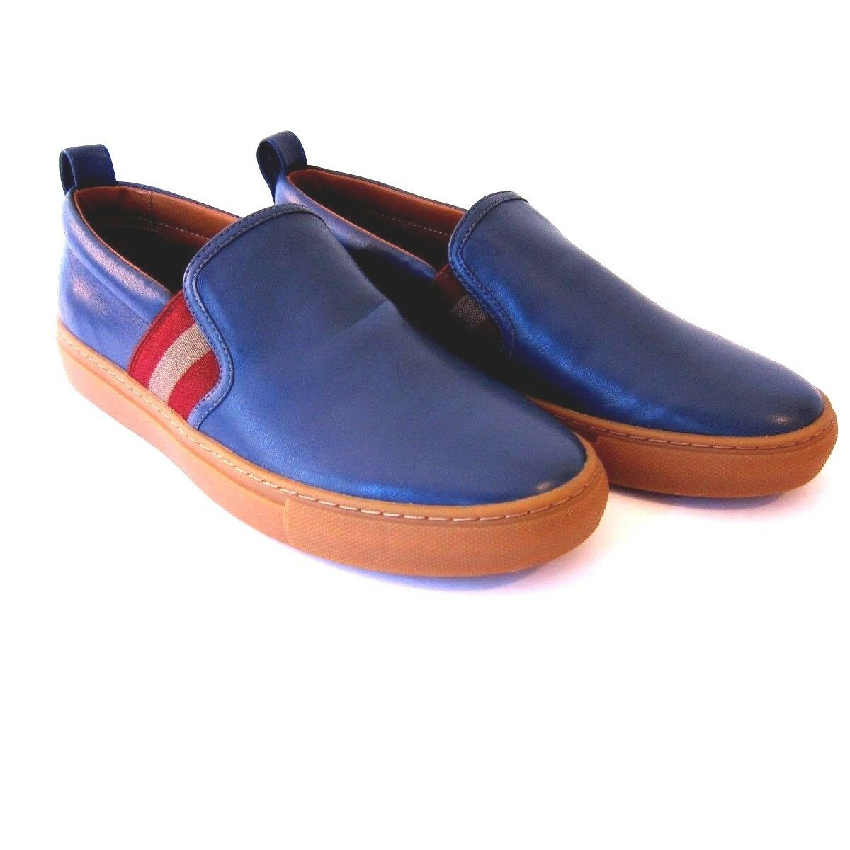J-1844119 New Bally Herald bluee Jeans Leather Slip On Sneaker shoes Size US 7