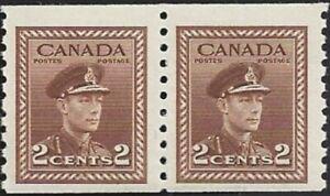 Canada   # 264 Coil Pair KING GEORGE VI  Brand New 1942 Original Pristine Gum