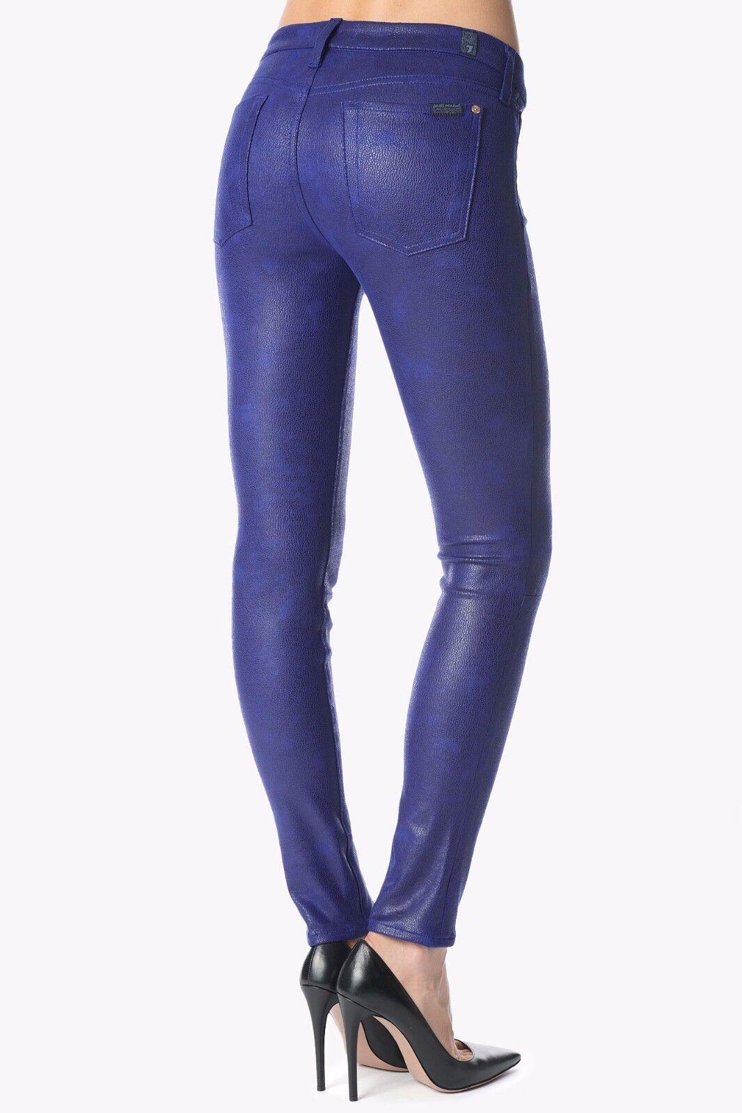 Nwt 7 für Alle Sz25 The Gesäumt Röhrenjeans Splitter Lederartiger Blau
