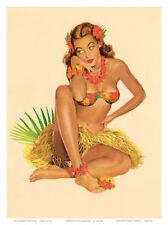 Hawaiian Pin-Up Girl, 1949 Art Poster Print by Al Moore, 9x12