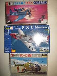 MBB-BO-105-M-F-4U-4-CORSAIR-P-51-D-MUSTANG-SCALA-1-48