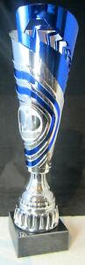 1x-Pokal-31-0cm-hoch-inkl-Gravur-u-Emblem-Wanderpokal-silber-blau