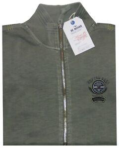 MAGLIA-FELPA-UOMO-M-L-XL-XXL-3XL-giacca-zip-verde-tinta-in-capo-cotone-Be-Board